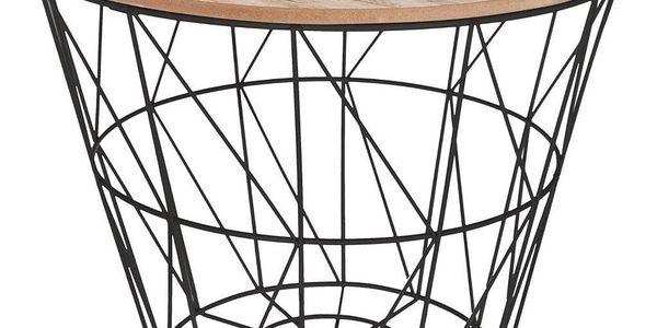 Atmosphera Créateur d'intérieur Funkční, praktický kávový stolek, průměr 38 cm, kulatá deska, drátěná konstrukce, barva rámu černá, moderní design
