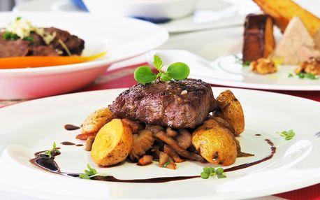 4chodové menu se steakem nebo kuřecím supreme