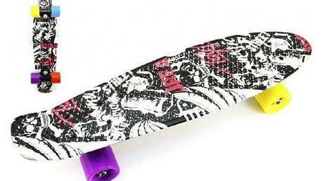 Skateboard - pennyboard 60cm nosnost 90kg černo-červený,černé osy kov, kola mix barev