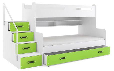 Patrová postel MAX 3 120x200 cm, bílá/zelená