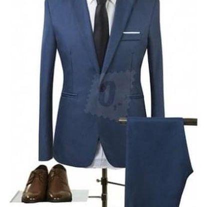 Pánský společenský oblek - Námořní modř Modrá-velikost č. 1 - dodání do 2 dnů