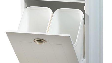 Kesper Bílý kuchyňský vozík vybavený košem na třídění odpadu, praktický a stylový kuchyňský pomocník