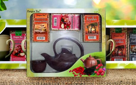 Dárková balení sypaných čajů s hrnky či konvičkou