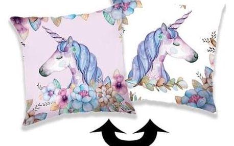 Jerry Fabrics Polštářek s flitry Unicorn 04, 40 x 40 cm