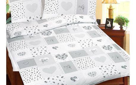 Bellatex Bavlněné povlečení Srdce patchwork, 140 x 200 cm, 70 x 90 cm
