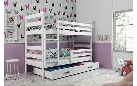 Dětská patrová postel ERYK 200x90 cm Bílá Bílá