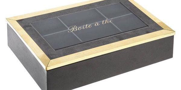 Atmosphera Box na čaj, 6 přihrádek, 24x15x7 cm, šedá