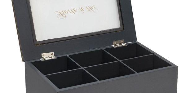 Atmosphera Box na čaj, 6 přihrádek, 24x15x7 cm, šedá3
