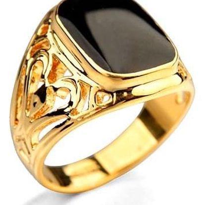 Masivní pánský prsten - zlatá barva vel. 10 - dodání do 2 dnů