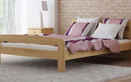 Dřevěná postel Klaudia 140x200 + rošt ZDARMA ořech