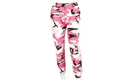Ležérní maskáčové kalhoty - Růžová-velikost č. 3 - dodání do 2 dnů