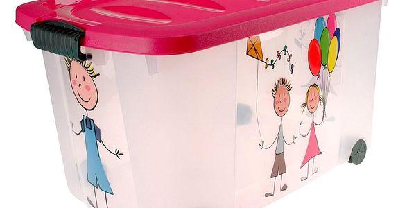 Emako Růžový kontejner na hračky KIDS, vysoce kvalitní plast