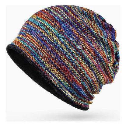 Pletený barevný kulich s kožíškem - 1 - dodání do 2 dnů