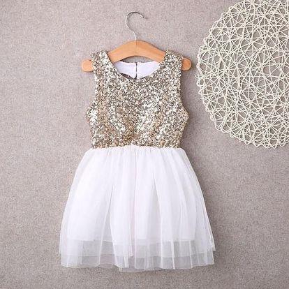 Dětské flitrované šatičky s tylovou sukní a vykrojenými zády - 3 - dodání do 2 dnů