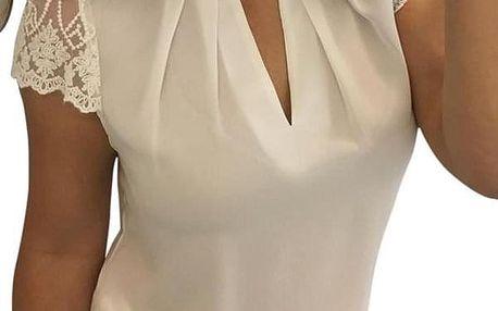 Dámská halenka s krajkovými rukávy - Bílá-velikost č. 2 - dodání do 2 dnů