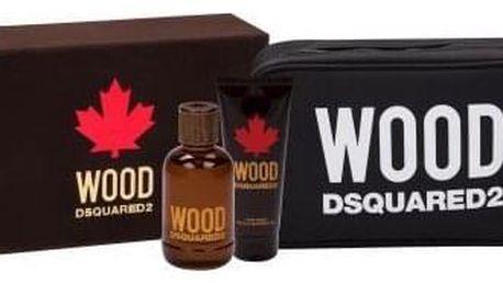 Dsquared2 Wood dárková kazeta pro muže toaletní voda 100 ml + sprchový gel 100 ml + kosmetická taška