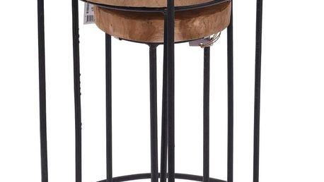 Home Styling Collection Kulatý designový stolek z přírodního týkového dřeva, 3 ks v sadě, 38x47, 28x41, 18x35 cm