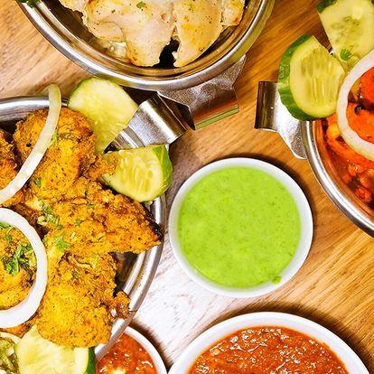 Tříchodové indické menu pro dva: vege i s masem