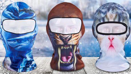 Zimní kukly s motivy: lebka, šelmy i zvířecí čumáčky