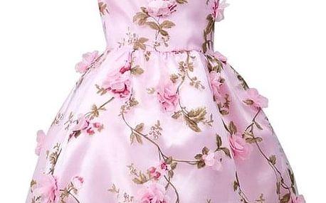 Dětské šaty květinové - Růžová-8 let - dodání do 2 dnů