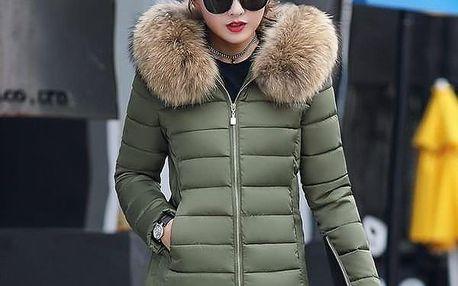 Dámská bunda s kapucí s umělým kožíškem - dodání do 2 dnů
