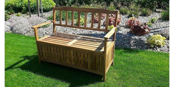 Dřevěná lavice s úložným prostorem Edita, 120 x 57 x 90 cm2