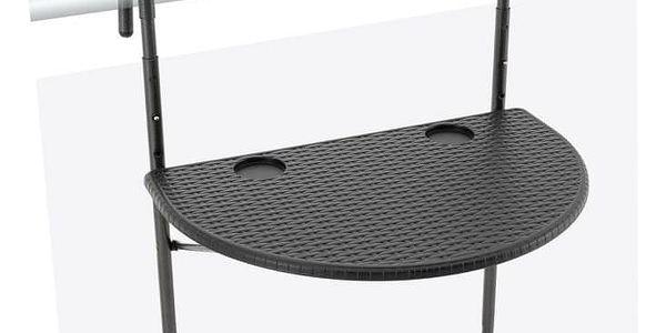 Garthen Závěsný sklopný stolek ratanového vzhledu - černý5