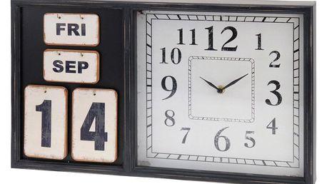 Home Styling Collection Nástěnné hodiny s kalendářem, v dřevěném rámečku