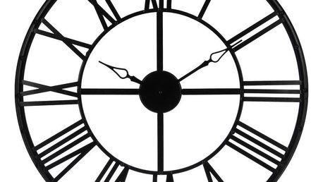 Atmosphera Créateur d'intérieur Černé kovové nástěnné hodiny, 70x2,5 cm