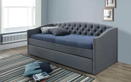 Rozkládací čalouněná postel ALESSIA 90x200 šedá