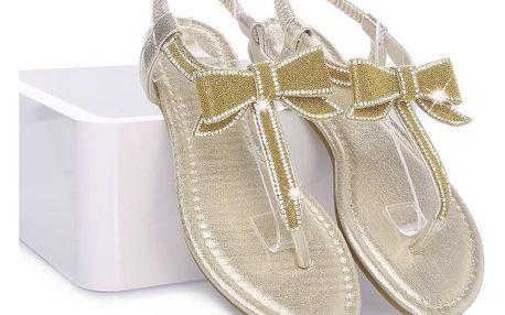 Hairie Zlaté sandály - žabky ALS007GO Velikost: 36 (23 cm)