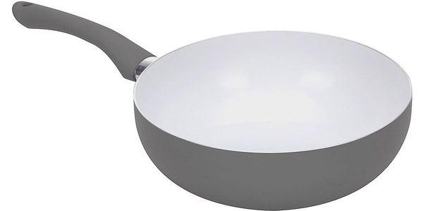 EH Excellent Houseware Porcelánová pánev WOK, průměr 24 cm, barva šedá