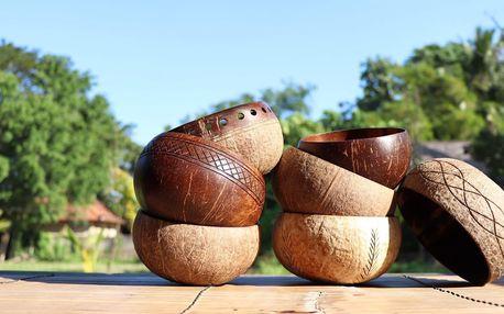Přírodní kokosové misky a brčka i příbory z Bali
