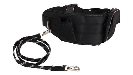 Emako Praktická sada na venčení psa, bederní pás s pružným vodítkem, černá barva, doplňkové kapsy
