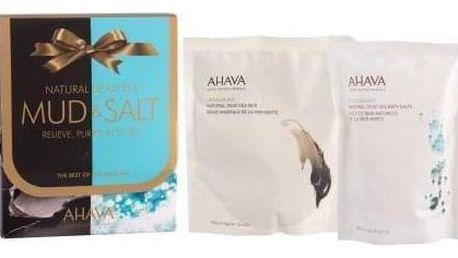 AHAVA Mud Deadsea Mud duo set minerálního bahna a koupelové soli pro ženy přírodní minerální bahno z Mrtvého moře 400 g + minerální koupelová sůl z Mrtvého moře 250 g