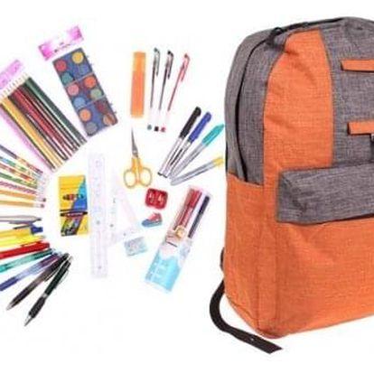 Batoh s náplní školních potřeb oranžový