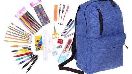 Batoh s náplní školních potřeb modrý