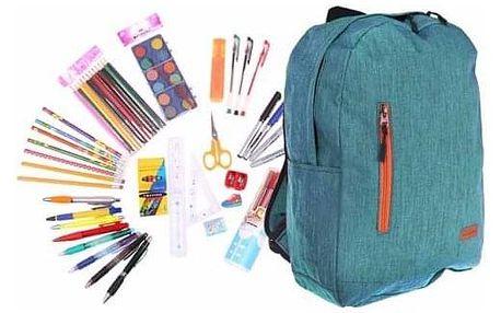 Batoh s náplní školních potřeb tyrkysový