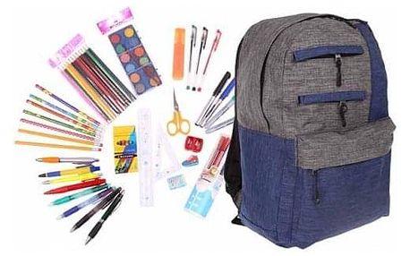 Batoh s náplní školních potřeb modrošedý