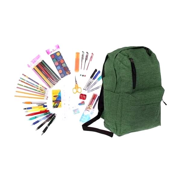 Batoh s náplní školních potřeb zelený