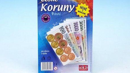 České koruny peníze do hry na kartě 15x16cm