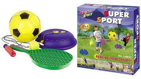 Hračka G21 Míč fotbalový a tenisový s raketou na provázku