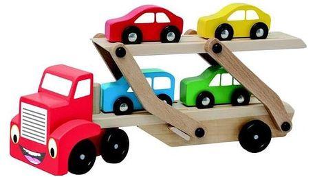 Hračka Woody Tahač s návěsem pro přepravu aut