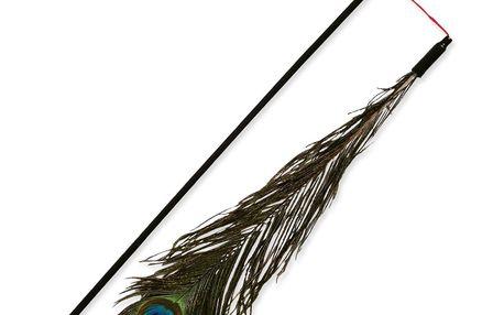 Hračka TRIXIE tyčka s pavím peřím 47 cm 1ks