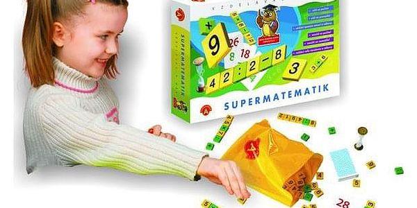 Supermatematik společenská hra naučná v krabici 29x19cm3