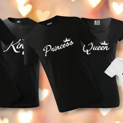 Královská trička s nápisy pro pár i celou rodinu