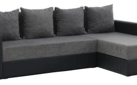 Rohová sedací souprava, ekokůže černá / šedá látka, ARON