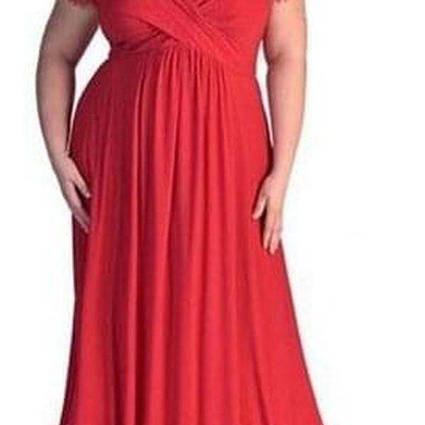 Dámské šaty v plus size velikostech v elegantním provedení - Červená-28w - dodání do 2 dnů