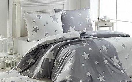Matějovský Krepové povlečení New Star Grey, 140 x 200 cm, 70 x 90 cm
