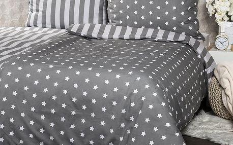 4Home Bavlněné povlečení Stars šedá, 140 x 200 cm, 70 x 90 cm